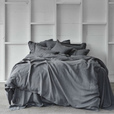 Pure linen quilt cover set in storm charcoal
