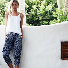 Indigo shibori print pants