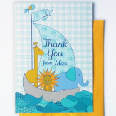 Personalised Noah's ark thank you cards (set of 10)