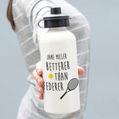Personalised Betterer Than Federer Sport Water Bottle