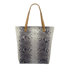 Natural python and lambskin leather shopper tote