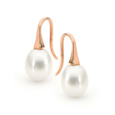 Rose gold medium pearl short drop earrings (in white, pink or black pearl)