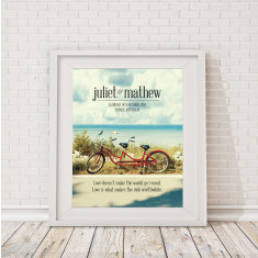 Personalised tandem bicycle wedding print