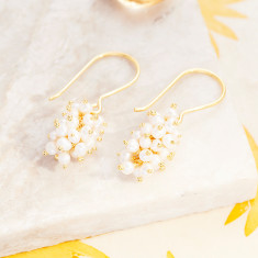 Sara Cluster Earrings With Pearl