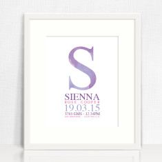 Watercolour personalised birth details prints (various colours)