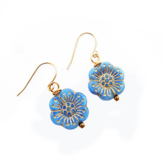 Gold wash anemone earrings