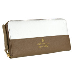 Signature wallet in beige & white