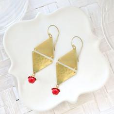 Vintage brass and ruby Czech glass triangle drop earrings