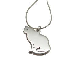 Silhouette cat sterling silver necklace