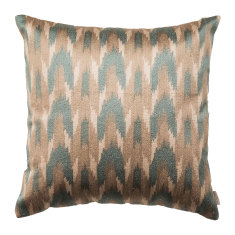 Silk embroidered ikat cushion cover