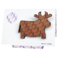 Silly Moo engraved brooch