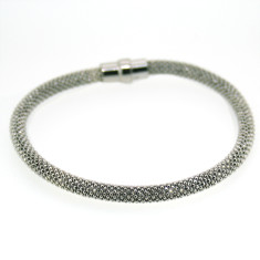 Sterling silver laser snake bracelet in rhodium-plated silver