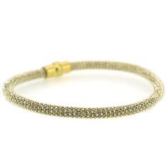Sterling silver laser snake bracelet in silver and gold