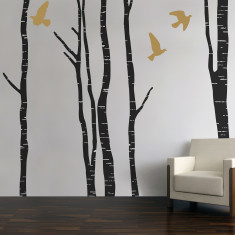 Silver birch tree forest wall stickers