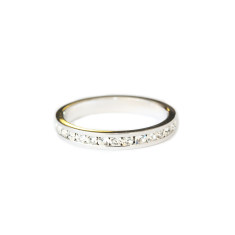 Crystal stacking ring in silver