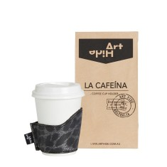 La Cafeina coffee cup holder in leopardo black