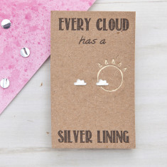 Every cloud has a silver lining sterling silver stud earrings