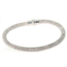Sterling silver laser snake bracelet in natural silver
