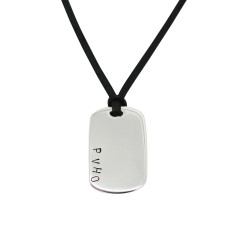 Personalised sterling silver dog tag pendant