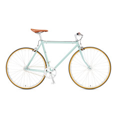 Vintage single speed bicycle in metallic sea green