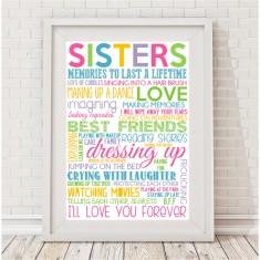 Sisters rainbow typographic print