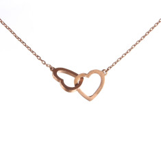 Two hearts necklace in rose gold