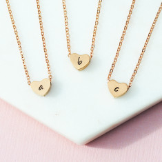 Personalised hand stamped heart initials necklace in rose gold