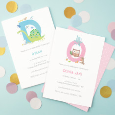 Personalised Alphabet Christening Invitations (set of 8)