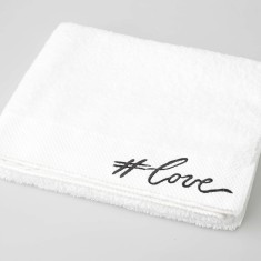 Love Embroidered Bath Towel