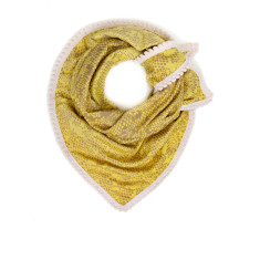 Soft mellow yellow scarf with off-white mini pom trim
