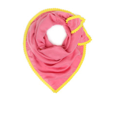 Soft pink cupro scarf with yellow mini pom trim