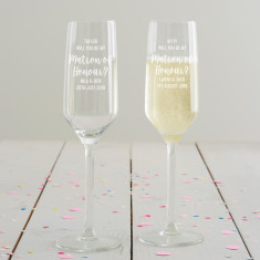 Personalised 'Will You Be My Matron Of Honour?' Champagne Flute