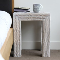 London rattan side table in white