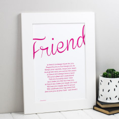 My friend personalised poem print
