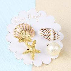 Set of Four Mismatched Nautical Beach Stud Earrings