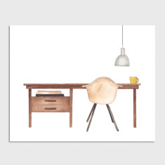 Desk Office Watercolour Illustration Art Print