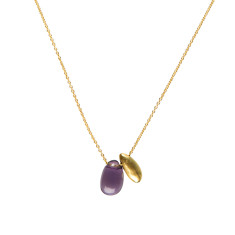 Amethyst and gold plated small teardrop pendant