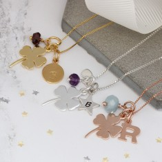 Personalised Good Luck Charm Necklace with Birthstones