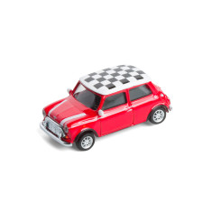 Fridge Magnet Mini Cooper in red with checkered roof