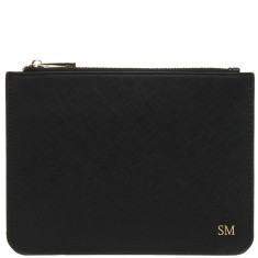 Monogrammed Vegan Saffiano Leather Ladies Large Pouch - Black with Gold Embossing