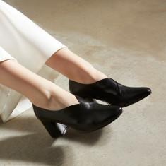 Tara Pump Heels - Black Leather