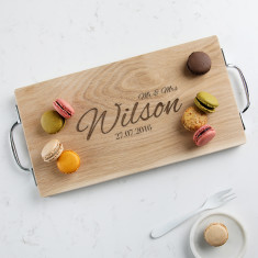 Personalised 'Mr and Mrs' wedding Oak or Walnut board