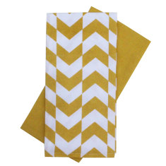 Tea towel set in arrow yellow