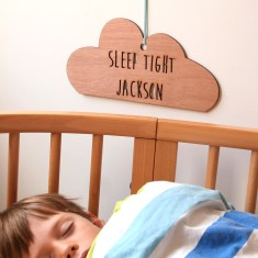 Personalised sleep tight wooden cloud decoration