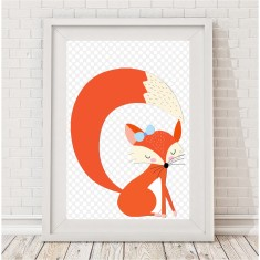 Sleepy fox print (girl or boy)