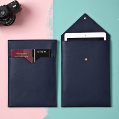 Soft Leather Tablet and Document Sleeve for Travel
