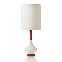 Electra table lamp small in white raw silk