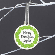 Personalised Brussel Sprout Wreath Christmas Bauble