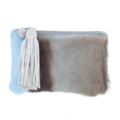 Chloe Sky Blue Bok + Cream Leather Clutch