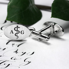 Doctor cufflinks engraved with the Rod of Asclepius